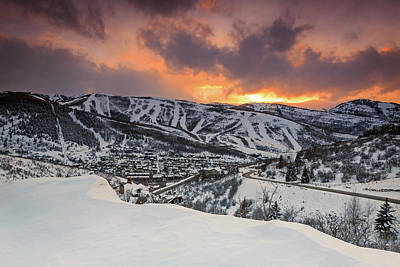 Art Print featuring the photograph Park City Winter Sunset. by Johnny Adolphson