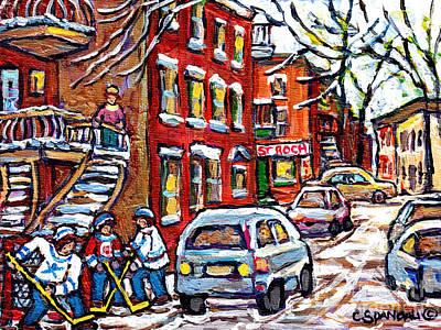 Painting - Park Ex Montreal Winterscene Painting Street Hockey Game St Roch Depanneur Canadian Art C Spandau by Carole Spandau