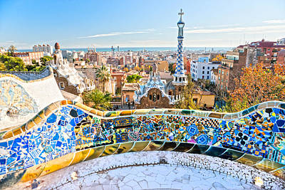 Art Print featuring the photograph Park Guell Barcelona by Luciano Mortula