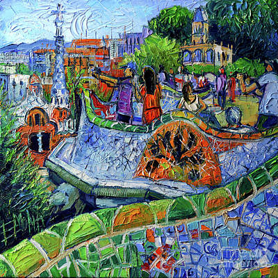 Antoni Gaudi Wall Art - Painting - Park Guell Memories - Barcelona Impression Palette Knife Oil Painting by Mona Edulesco
