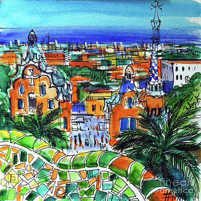 Antoni Gaudi Wall Art - Painting - Park Guell Overlooking Barcelona by Mona Edulesco