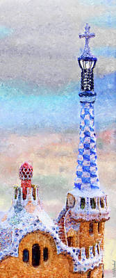 Photograph - Park Guell Tower Painting- Gaudi by Weston Westmoreland