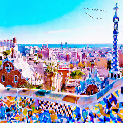 Digitally Generated Mixed Media - Park Guell Watercolor Painting by Marian Voicu