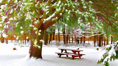 Park In Winter With Snow Art Print by Lanjee Chee