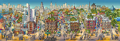 Park Scene Painting - Park Slope Brooklyn by Maria Rabinky