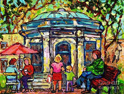 Painting - Park St Louis Square Cafe Kiosk Painting St Denis Prince Arthur Plateau Mont Royal Art C Spandau     by Carole Spandau