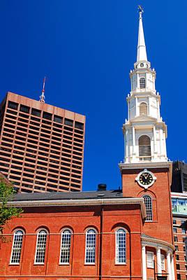 Cartoons Tees - Park Street Church Boston by James Kirkikis