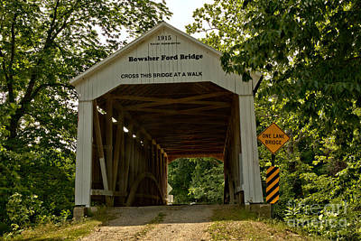 Photograph - Parke County Bowsher Ford Covered Bridge by Adam Jewell