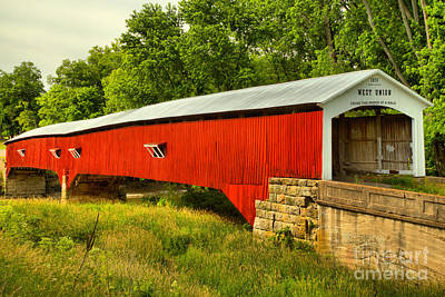 Photograph - Parke County Indiana West Union Covered Bridge by Adam Jewell