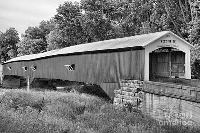Photograph - Parke County Indiana West Union Covered Bridge Black And White by Adam Jewell