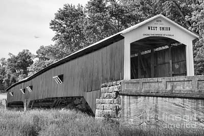 Photograph - Parke County West Union Covered Bridge Black And White by Adam Jewell