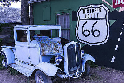 Window Signs Photograph - Parked Blue Truck by Garry Gay