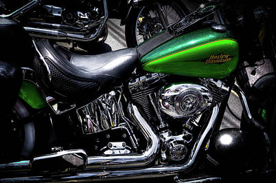 Cycle Photograph - Parked Harleys by David Patterson