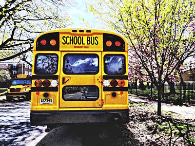 Photograph - Parked School Buses In Spring by Susan Savad