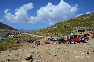 Photograph - Parked Willys Jeeps In Mountains Around Lake Saiful Muluk North Pakistan by Imran Ahmed