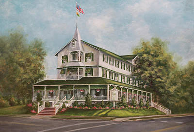 Historical Buildings Painting - Parker House Sea Girt , Nj by Arlene Newman