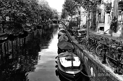 Photograph - Parking Along The Amsterdam Canal Mono by John Rizzuto