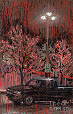 Drawing - Parking Lights by Donald Maier