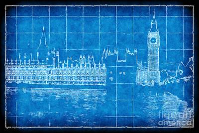 Digital Art - Parliament Blueprint by John Rizzuto