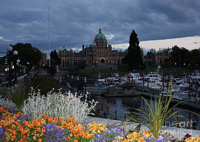 Photograph - Parliament Building In Victoria At Dusk by Carol Groenen