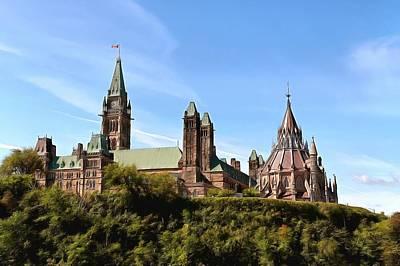 Ottawa Skyline Digital Art - Parliament Hill  by Jean-Marc Lacombe