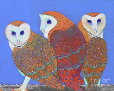Parliament Of Owls Detail 2 Art Print by Tracy L Teeter