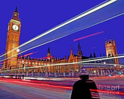 The Clock Photograph - Parliament Square With Silhouette by Chris Smith
