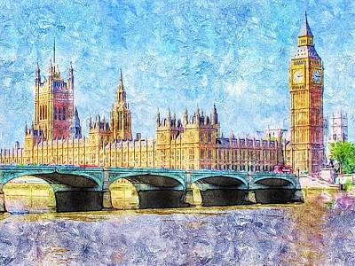 Digital Art - Parliment From Westminister Bridge by Anne Sands