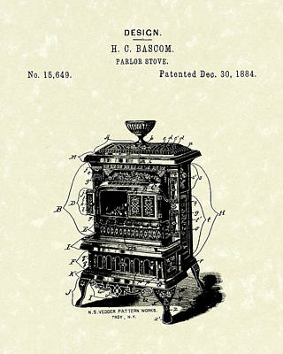 Parlor Drawing - Parlor Stove Bascom 1884 Patent Art by Prior Art Design