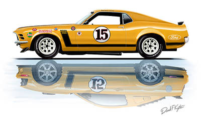 Mustang Painting - Parnelli Jones Trans Am Mustang by David Kyte