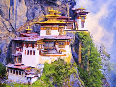 Tibetan Buddhism Painting - Paro Taktsang Monastery Bhutan by Dominic Piperata