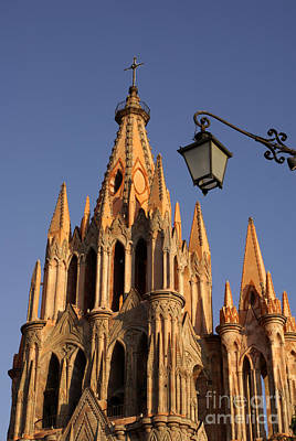 Photograph - Parroquia Steeple San Miguel De Allende Mexico by John  Mitchell