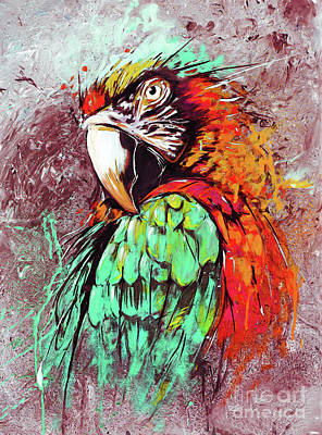 King Parrot Painting - Parrot Art 09i by Gull G