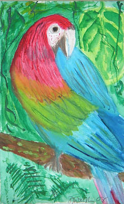 Art Print featuring the painting Parrot At Sundy House by Donna Walsh