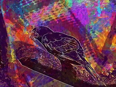 Digital Art - Parrot Ave Animals Colors Tree  by PixBreak Art