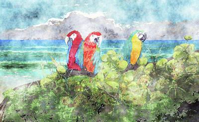 Watercolor Landscape Painting - Parrot Beach 2 Watercolor by Ken Figurski