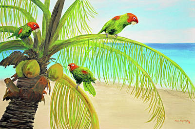 Amazon Parrot Painting - Parrot Beach by Ken Figurski