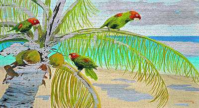 Fish Painting - Parrot Beach On Wood by Ken Figurski
