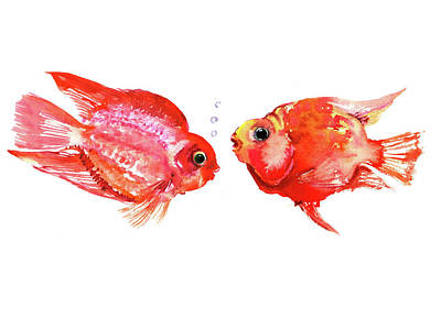 Animal Lover Drawing - Parrot Cichlids by Suren Nersisyan