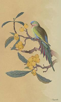 Digital Art - Parrot In Loquat Tree by IM Spadecaller