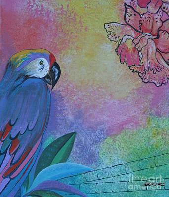 Painting - Parrot In Paradise by Jean Clarke