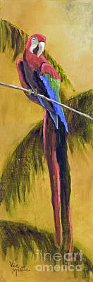 Mo Artist Painting - Parrot Is A Character With Gold Leaf By Vic Mastis by Vic  Mastis