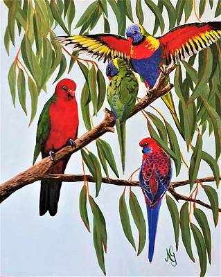 Painting - Parrot Medley by Anne Gardner