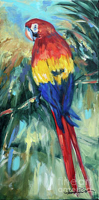 Painting - Parrot On Limb by Linda Olsen