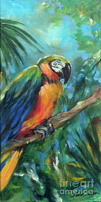Painting - Parrot Perch by Linda Olsen