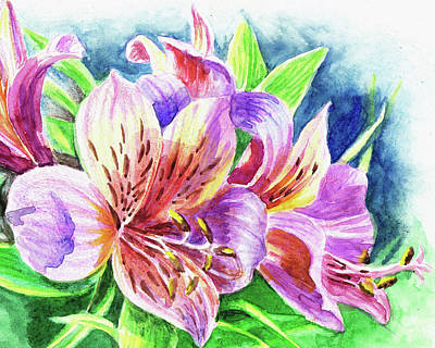 Lilies Royalty-Free and Rights-Managed Images - Parrot Peruvian Lilies by Irina Sztukowski