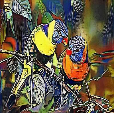 Looking At Camera Drawing - Parrot, Rainbow Lorikeet - My Www Vikinek-art.com by Viktor Lebeda
