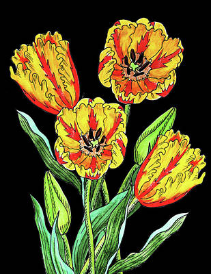 Painting - Parrot Tulip Flowers Watercolour  by Irina Sztukowski