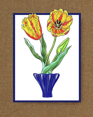 Painting - Parrot Tulips In The Blue Vase Watercolor On Canvas by Irina Sztukowski