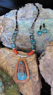 Jewelry - Parrot Wing Jasper Set In Gourd Wood # D179 by Barbara Prestridge